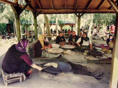 ephesus, turkey, local ladies making bread